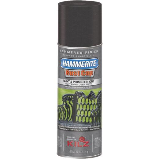Hammerite Rust High Gloss Black 12 Oz. Hammered Finish Spray Paint