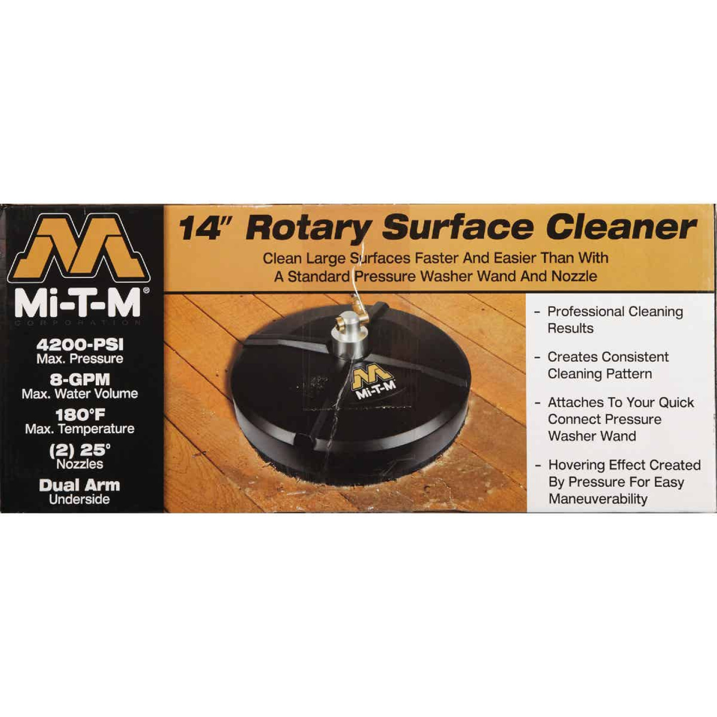 Mi-T-M 14 In. Rotary Surface Cleaner for Gas Pressure Washer with Quick Connect Plug Image 2