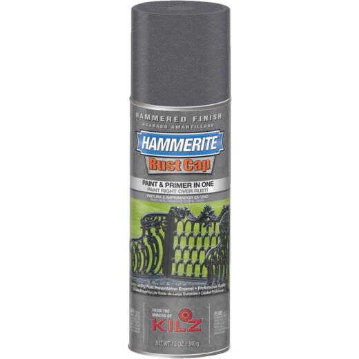 Hammerite Rust High Gloss Gray  12 Oz. Hammered Finish Spray Paint