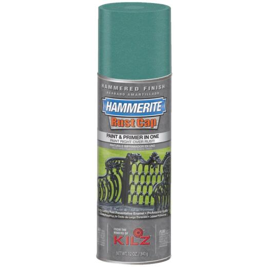 Hammerite Rust High Gloss Mid Green  12 Oz. Hammered Finish Spray Paint