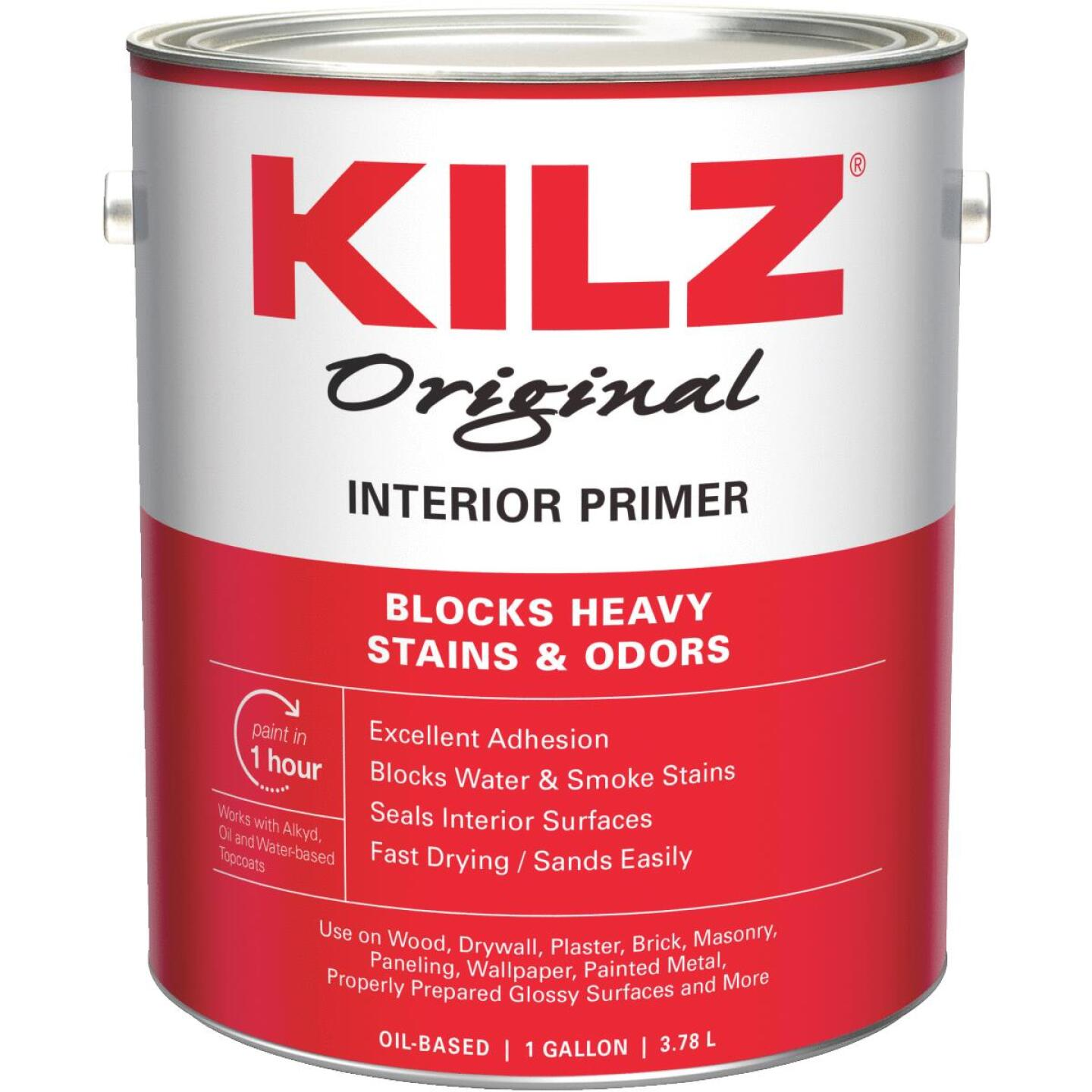 Kilz Original Oil-Based Interior Primer Sealer Stainblocker, White, 1 Gal. Image 1