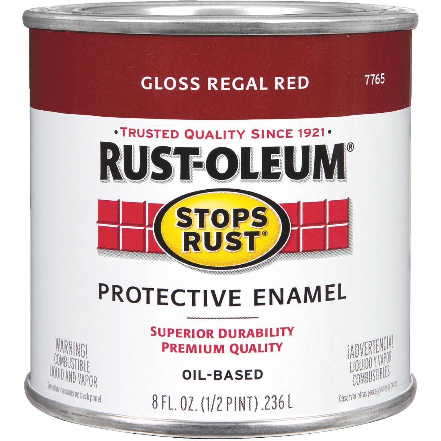 Rust-Oleum Stops Rust Oil Based Gloss Protective Rust Control Enamel, Regal Red, 1/2 Pt. Image 1