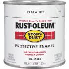 Rust-Oleum Stops Rust Oil Based Flat Protective Rust Control Enamel, White, 1/2 Pt. Image 1
