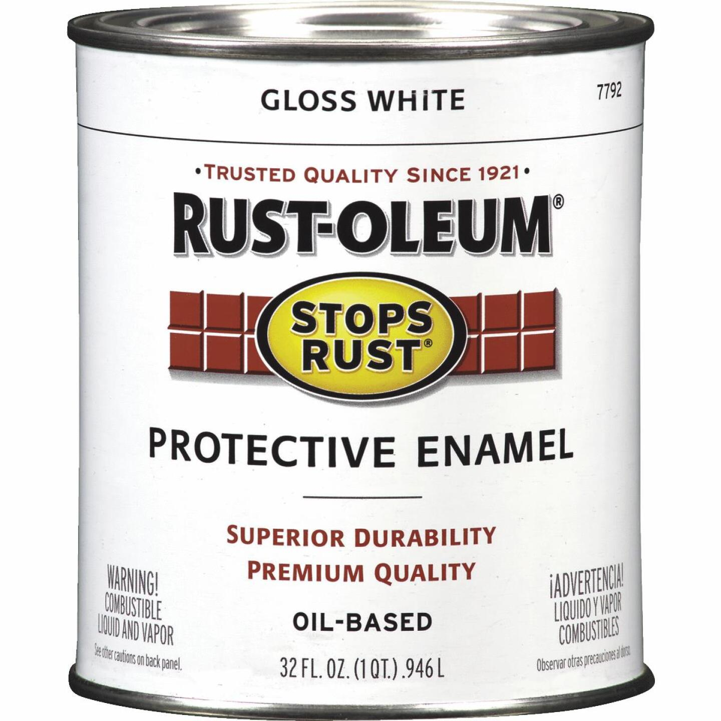 Rust-Oleum Stops Rust Oil Based Gloss Protective Rust Control Enamel, White, 1 Qt. Image 1
