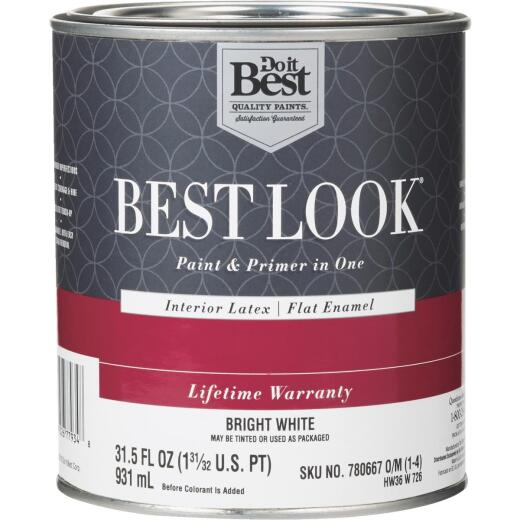 Best Look Latex Paint & Primer In One Flat Enamel Interior Wall Paint, Bright White, 1 Qt.