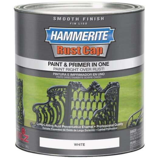 Hammerite Rust Cap Oil-Based Gloss Smooth Rust Control Enamel, White, 1 Qt.