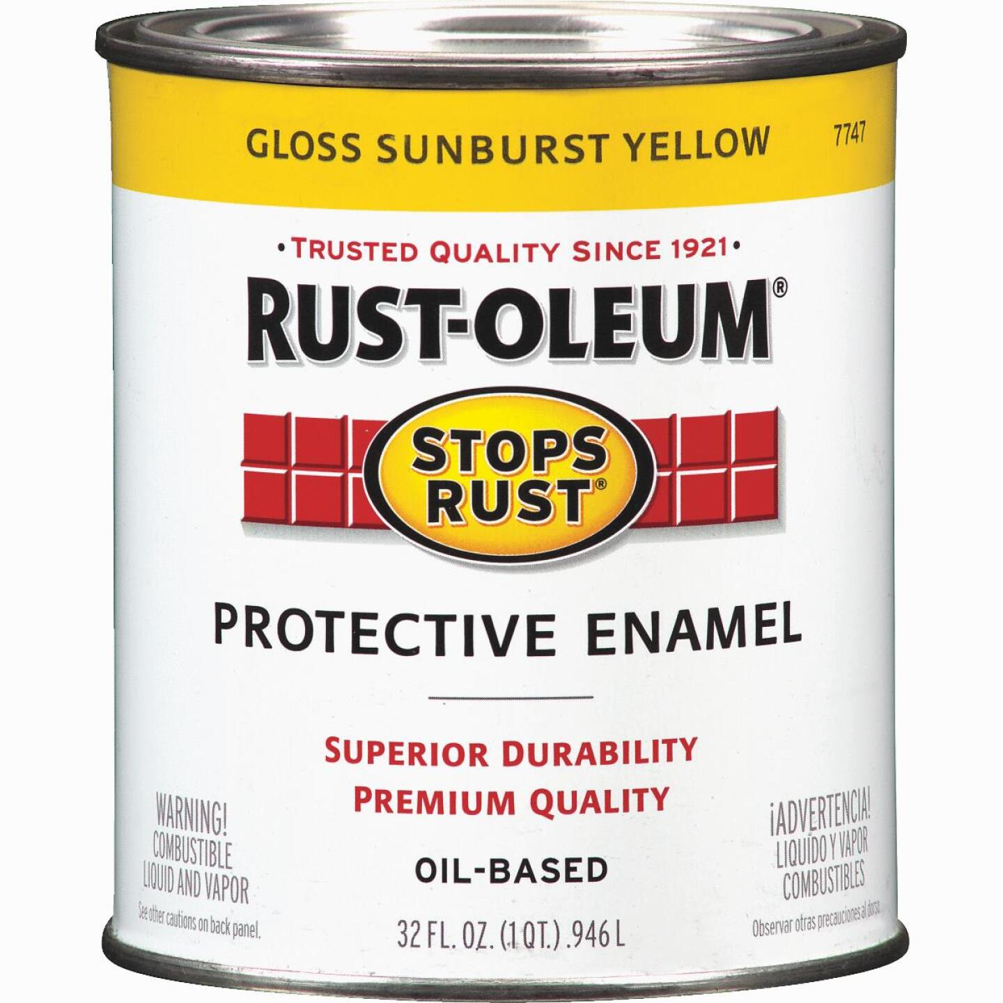 Rust-Oleum Stops Rust Oil Based Gloss Protective Rust Control Enamel, Sunburst Yellow, 1 Qt. Image 1