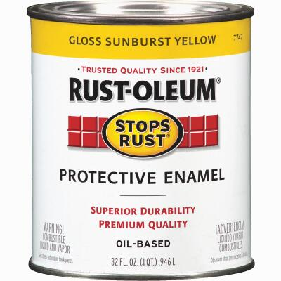 Rust-Oleum Stops Rust Oil Based Gloss Protective Rust Control Enamel, Sunburst Yellow, 1 Qt.