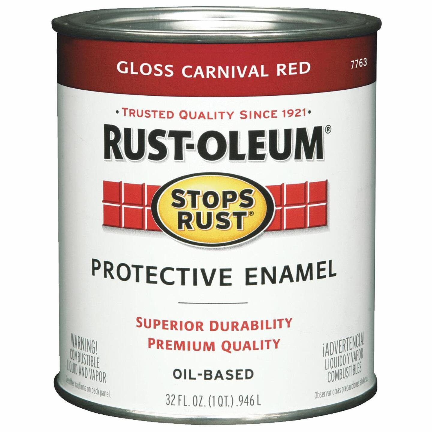 Rust-Oleum Stops Rust Oil Based Gloss Protective Rust Control Enamel, Carnival Red, 1 Qt. Image 1