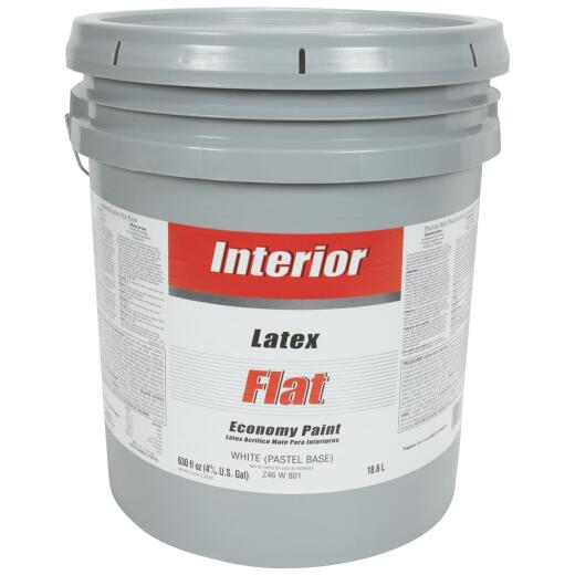 Economy Latex Flat Interior Wall Paint, White-Pastel Base, 5 Gal.