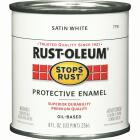 Rust-Oleum Stops Rust Oil Based Satin Protective Rust Control Enamel, White, 1/2 Pt. Image 1