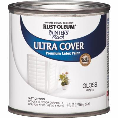 Rust-Oleum Painter's Touch 2X Ultra Cover Premium Latex Paint, White Gloss, 1/2 Pt.
