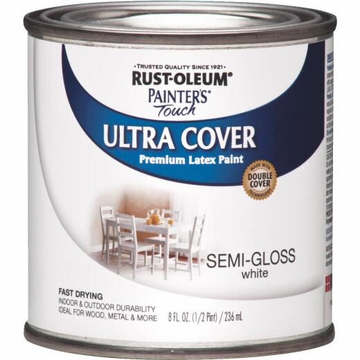 Rust-Oleum Painter's Touch 2X Ultra Cover Premium Latex Paint, White Semi-Gloss, 1/2 Pt.