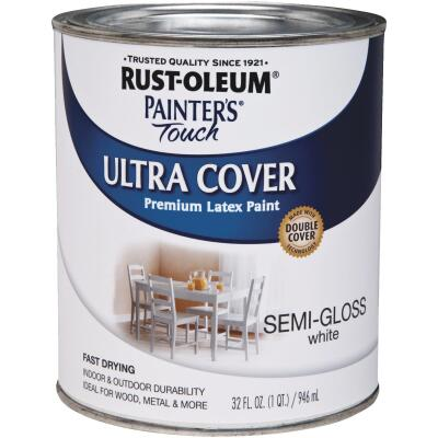 Rust-Oleum Painter's Touch 2X Ultra Cover Premium Latex Paint, White Semi-Gloss, 1 Qt.