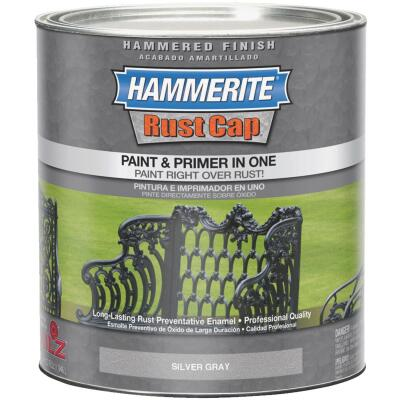 Hammerite Rust Cap Paint & Primer In One Hammered Finish, Silver Gray, 1 Qt.
