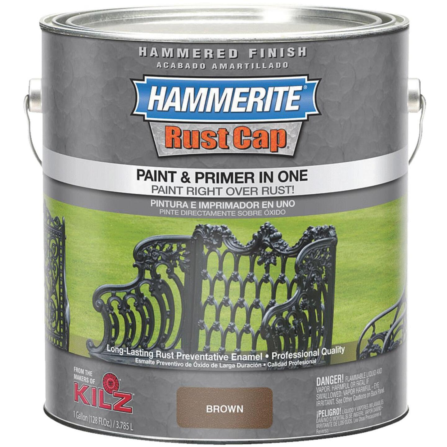 Hammerite Rust Cap Paint & Primer In One Hammered Finish, Brown, 1 Gal. Image 1