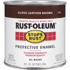Rust-Oleum Stops Rust Oil Based Gloss Protective Rust Control Enamel, Leather Brown, 1/2 Pt. Image 1