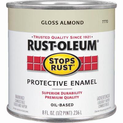 Rust-Oleum Stops Rust Oil Based Gloss Protective Rust Control Enamel, Almond, 1/2 Pt.
