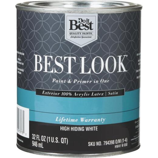 Best Look 100% Acrylic Latex Paint & Primer In One Satin Exterior House Paint, High Hiding White, 1 Qt.