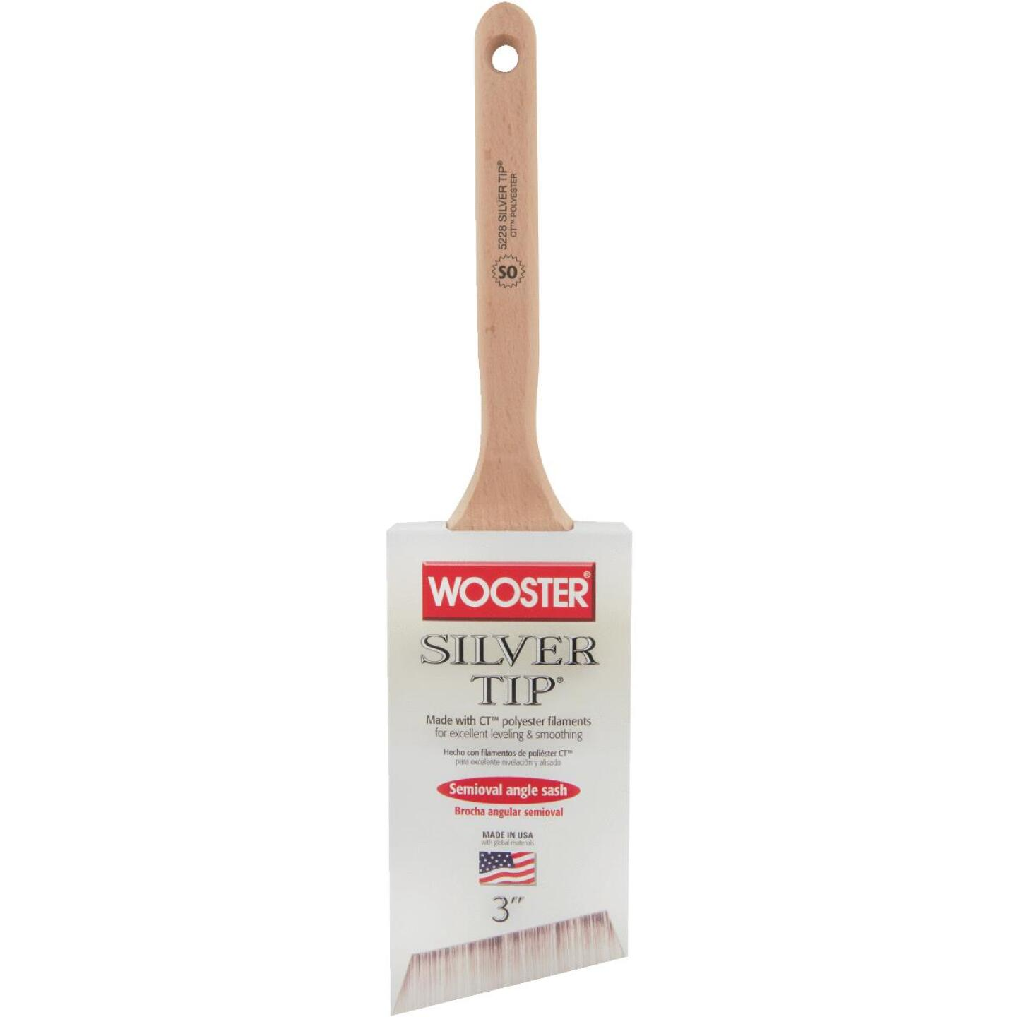 Wooster Silver Tip 3 In. Semi-Oval Angle Sash Brush Image 1