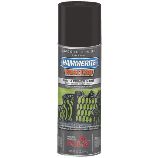 Hammerite Rust Cap Gloss Black 12 Oz. Anti-Rust Spray Paint