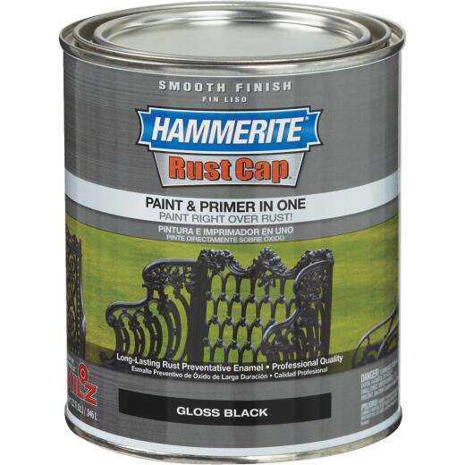 Hammerite Rust Cap Oil-Based Gloss Smooth Rust Control Enamel, Black, 1 Qt.