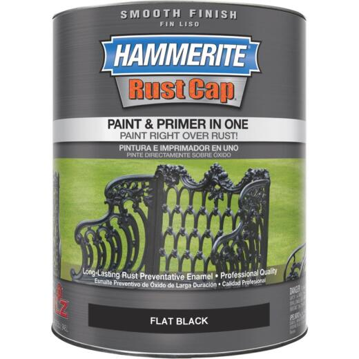 Hammerite Rust Cap Oil-Based Flat Smooth Rust Control Enamel, Black, 1 Qt.