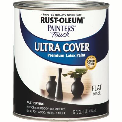 Rust-Oleum Painter's Touch 2X Ultra Cover Premium Latex Paint, Flat Black, 1 Qt.