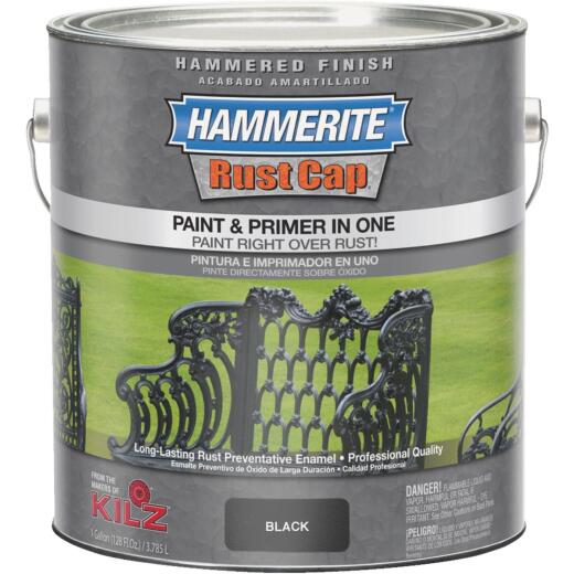 Hammerite Rust Cap Paint & Primer In One Hammered Finish, Black, 1 Gal.