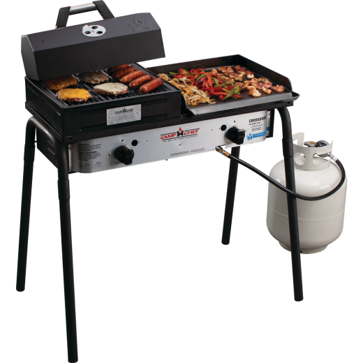 Camp Chef Crossover 2-Burner 60,000 BTU LP Gas Outdoor Cooking Stove with Griddle & Grill Box