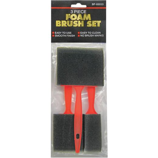 Jacent 1 In., 2 In., 3 In. Foam Brush Set (3-Pieces)